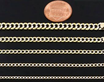 10k Hollow Two Tone (Yellow & White) Gold Cuban Chain Necklace 2.0MM and 2.5MM for Women Girls Teenagers Kid