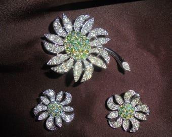 "Vintage 1960s Sarah Coventry ""Mountain Flower"" Pin/Earring set. Aurora Borealis rhinestones."