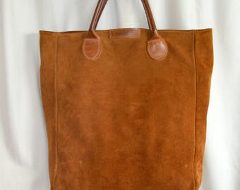 G.H. BASS & CO Rugged Suede Leather  Bag Burnt Sienna Shopper Tote Bag Carryall Purse
