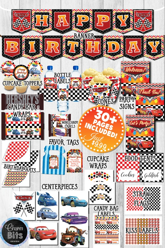 Cars Printable Party Kit Cars Birthday Decorations Printable Car