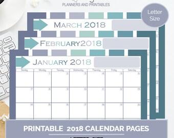 Serene Calendar Pack, printable 2018 calendar pages, organizational tool, goal setting planner, scheduling tool, goals,  letter size planner