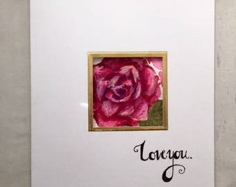 Specialty Valentine's Day Card With Original Rose Illustration