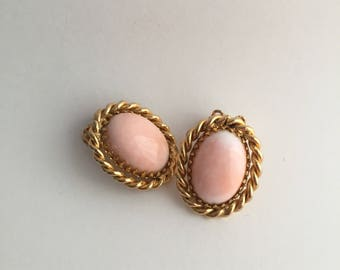 Light Pink & Gold Classic Button Earrings