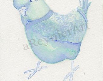 original illustration, chubby little bird series (1/2) 10 X 15 cm