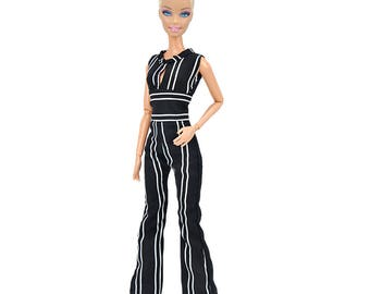 Barbie clothes casual jumpsuit black and white