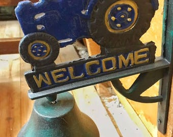 Tractor Ford Bell tractor bell blue farm bell dinner bell vintage dinner bell vintage iron bell Cast Iron Bell  farm bell farm decor wall