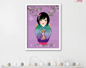 Deco POSTER purple kokeshi girl room