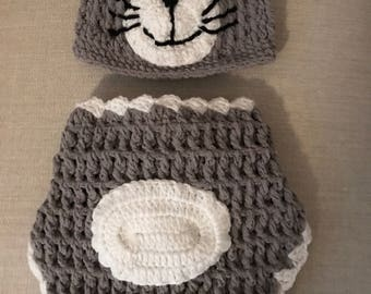 Baby Hat and Cover - Cat