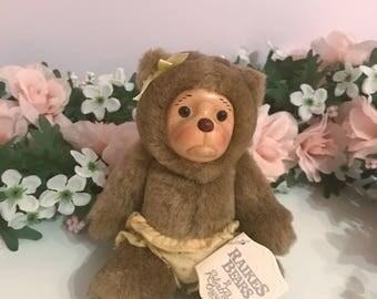 Raikes Bears Mini Wooden Face Toy ~ 1990's vintage