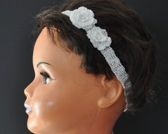 baby girl headband crocheted two white cotton flowers and pearls