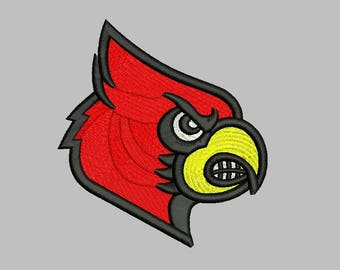 Louisville Cardinals embroidery Designs 3 Sizes Football Logo embroidery Design