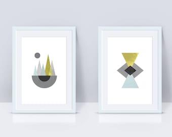 Set of 2 5x7 Modern Art Printable Wall Art