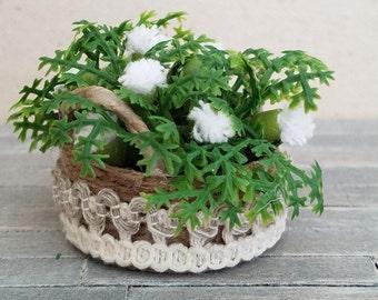 Miniature Flower Basket, Dollhouse Flower Basket, Dollhouse Miniature Basket, Miniature Greenery Basket