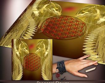 Crystal Grid Cloth - Dragon's Flower of Life - Crystal Meditation Energy Grid