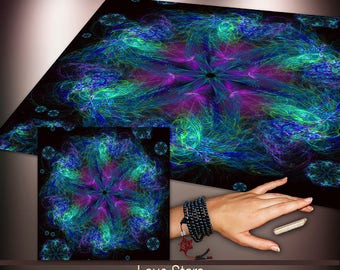 Crystal Grid Cloth - Love Stars from Above - Crystal Meditation Energy Grid