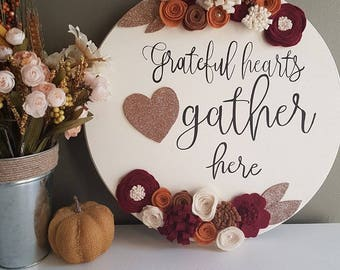 Grateful hearts gather here fall wood sign, round sign, fall, blessed, thanksgiving, October
