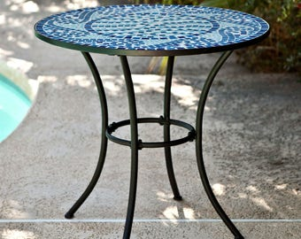 InsideOut Mosaic Laid Tile Round Bistro Table with Metal Framing and Blue Design