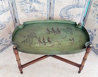 Vintage Green Chinoiserie Tray Table