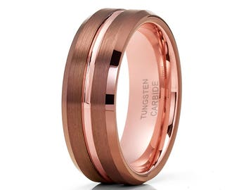 Espresso Tungsten Wedding Band Men & Women Rose Gold Tungsten Ring Tungsten Carbide Rig Brush Finish Men's Ring