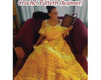 Princess Dress Blanket, Crochet pattern, US and UK Beginner. Printable download