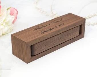 WALNUT ring bearer box wedding ring box ring box wedding ring holder wedding  ring holder wood ring box ring boxes ring bearer