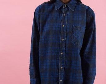 Plaid Shirt, 90s Plaid, Flannel Shirt, 90s Grunge, Blue Flannel, 90s Shirt, Lumberjack, Button Up Shirts, Hipster, Unisex, Mens, Black