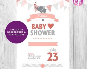 x50 Baby Shower Invites| Baby Shower Elephant invitations | Pink Baby Shower Invitations | Pink Invitations | Girls Birthday Invitations