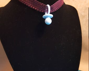 Vintage Red Ribbon Choker W/ Blue Paci Charm