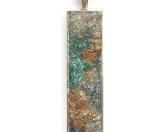 Drop pendant, drop necklace, bar pendant, pendant necklace, boho, under 20, geode pendant, druzy, skinny pendant, multicolor druzy, mosaic