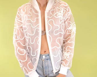 AMAZING bright white mesh vintage bomber with sqiuggle and floral embroidery SIZE S-M