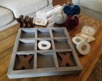 Nine Squares Tic Tac Toe Wood Boards Coffee Table
