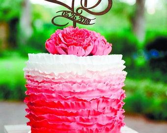 B Letter J Cake Topper Date Wood Monogram Wedding Cake Topper initial Gold Monogram Cake Topper silver Letter J B date Rustik cake topper B