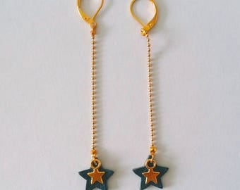 Agathe and Ana - blue teal and gold tone leather - star earrings
