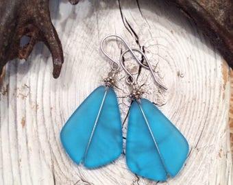 Dark Aqua Sea Glass Earrings with Antique Silver Bead, Beach Glass Earrings, Recycled Glass