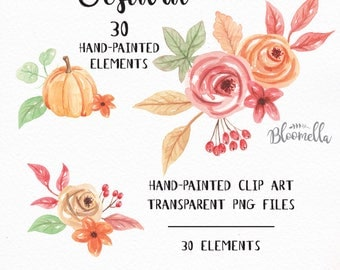 30 Watercolour Pumpkin Clipart - Fall Thanksgiving Hand Painted INSTANT DOWNLOAD 30 Fall Elements PNGs - Harvest Festival DIY Autumn Digital
