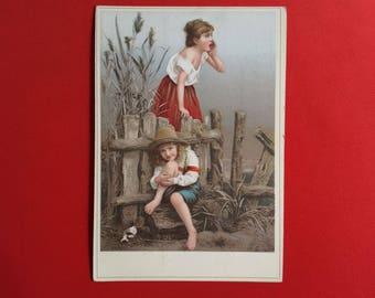 Chromo seek children playing card street advertising 1920 haberdashery shop