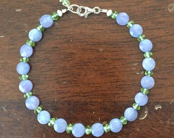 Purple Jade (Flat/Round/Faceted) with Peridot Layering Bracelet