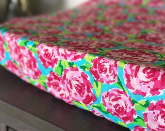 Changing Pad cover- Crib sheet- girl nursery- floral- abstract- toddler sheet- baby shower gift- fitted sheet