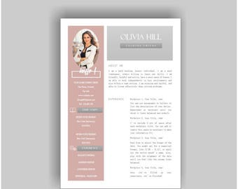 Resume Template 2 page | CV Template + Cover Letter for MS Word | Instant Digital Download | 'olivia'