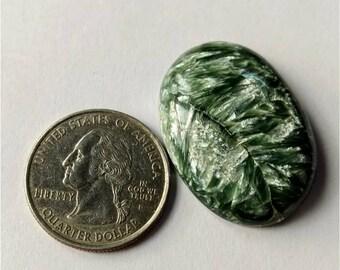 33.40 x 24.10mm,Ovel Shape Seraphinite Russian Cabochon/Green Grey Flash/wire wrap stone/Super Shiny/Pendant Cabochon/Semi Precious Gemstone