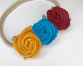 Felt flower headband for girls, baby headband, wool felt headband, flower baby headband, felt flower crown