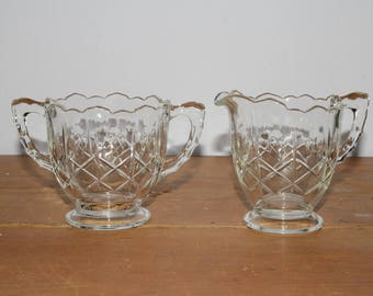 Vintage, Depression Glass, Diamond Pattern, Cream & Sugar, Scalloped Rim, Kitchen Dishes, Excellent condition