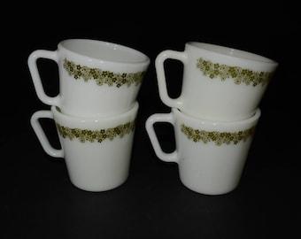 PYREX, Spring Blossom, Green, 'Crazy Daisy', Coffee/tea mugs - Set of 4, D handle, Coffee mugs, Tea Cups, Milk glass, Vintage