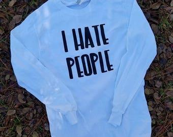 I Hate People Shirt/Heat transfer Adult shirt/Custom Vinyl Shirt/Cute Funny Shirt/F OFF shirt/Corrections SHirt/Grey Line Shirt/Funny items
