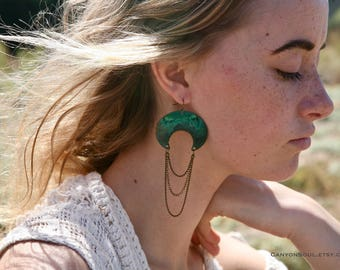 Crescent Patina Earrings with chain. turquoise verdigris .