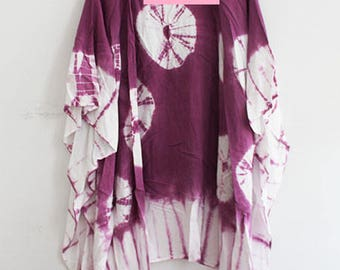 Purple Kimono with Circle Print