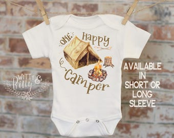 One Happy Camper Onesie®, First Birthday Onesie, Baby Boy Outfit, Baby Boy Clothes, Cute Onesie, Boho Baby Onesie, Boy Onesie - 370O
