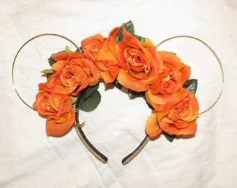 Fall Inspired Wire Floral Minnie Ears Disney Ears