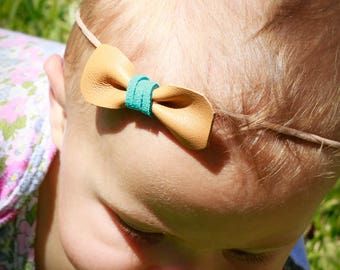 Small Leather Bow with Turquoise Tie on a Headband - Baby Gift - Baby girl - Baby Shower -Baby Bow - Baby Headband