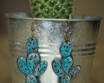 Prickly Pear Turquoise Earrings | Leather Earrings | Birthday Gift | Anniversary | Gifts under 25 | Handmade | Gifts for Her